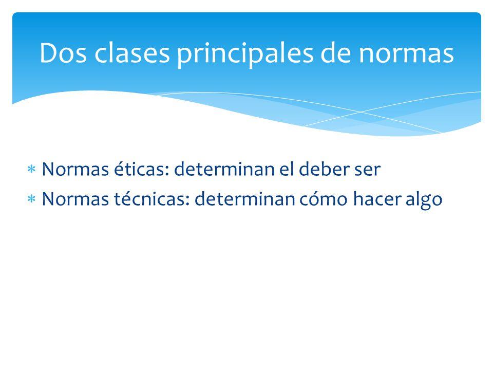 Normas éticas: determinan el deber ser Normas técnicas: determinan cómo hacer algo Dos clases principales de normas