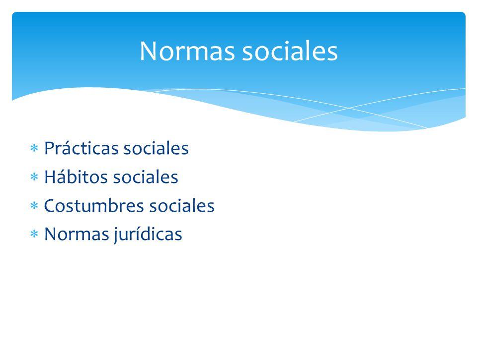 Prácticas sociales Hábitos sociales Costumbres sociales Normas jurídicas Normas sociales