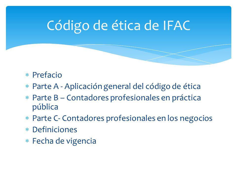Prefacio Parte A - Aplicación general del código de ética Parte B – Contadores profesionales en práctica pública Parte C- Contadores profesionales en