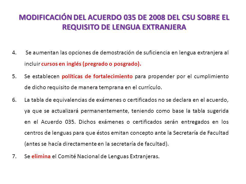 MODIFICACIÓN DEL ACUERDO 035 DE 2008 DEL CSU SOBRE EL REQUISITO DE LENGUA EXTRANJERA 4. Se aumentan las opciones de demostración de suficiencia en len