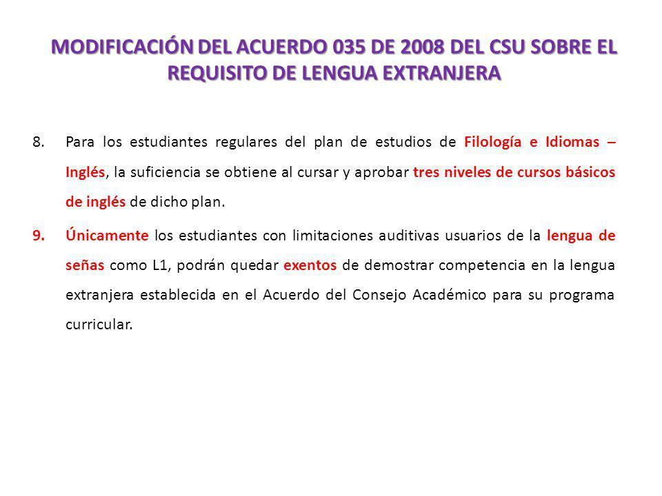 MODIFICACIÓN DEL ACUERDO 035 DE 2008 DEL CSU SOBRE EL REQUISITO DE LENGUA EXTRANJERA 8.Para los estudiantes regulares del plan de estudios de Filologí
