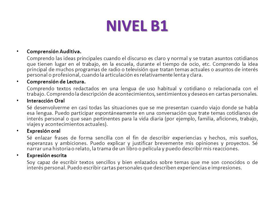 NIVEL B1 Comprensión Auditiva.