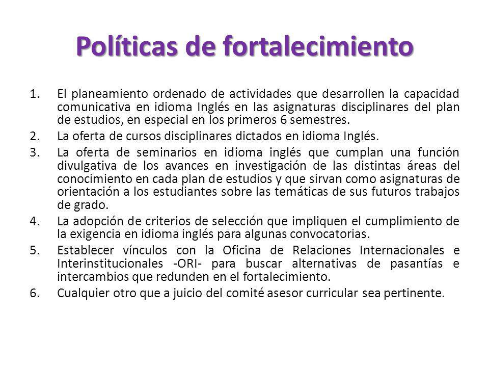 Políticas de fortalecimiento 1.El planeamiento ordenado de actividades que desarrollen la capacidad comunicativa en idioma Inglés en las asignaturas d