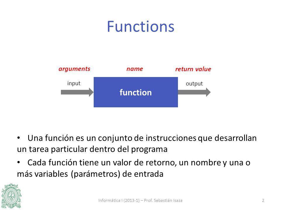 Una función es un conjunto de instrucciones que desarrollan un tarea particular dentro del programa Cada función tiene un valor de retorno, un nombre y una o más variables (parámetros) de entrada Informática I (2013-1) – Prof.