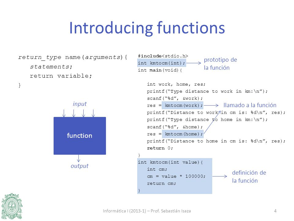 definición de la función llamado a la función prototipo de la función Introducing functions return_type name(arguments){ statements; return variable; } Informática I (2013-1) – Prof.