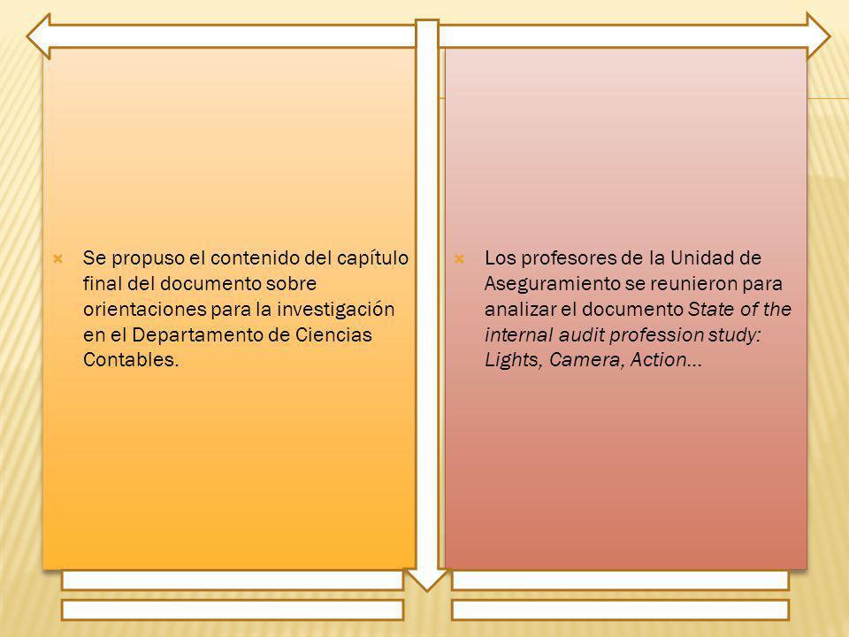 Se propuso el contenido del capítulo final del documento sobre orientaciones para la investigación en el Departamento de Ciencias Contables. Los profe