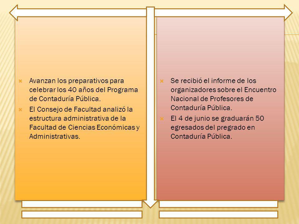 Avanzan los preparativos para celebrar los 40 años del Programa de Contaduría Pública. El Consejo de Facultad analizó la estructura administrativa de