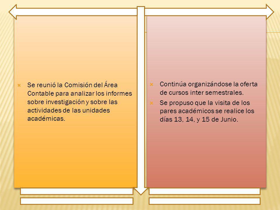 Se reunió la Comisión del Área Contable para analizar los informes sobre investigación y sobre las actividades de las unidades académicas. Continúa or