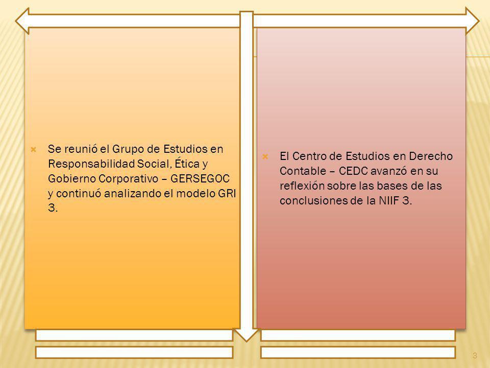Se reunió el Grupo de Estudios en Responsabilidad Social, Ética y Gobierno Corporativo – GERSEGOC y continuó analizando el modelo GRI 3. El Centro de