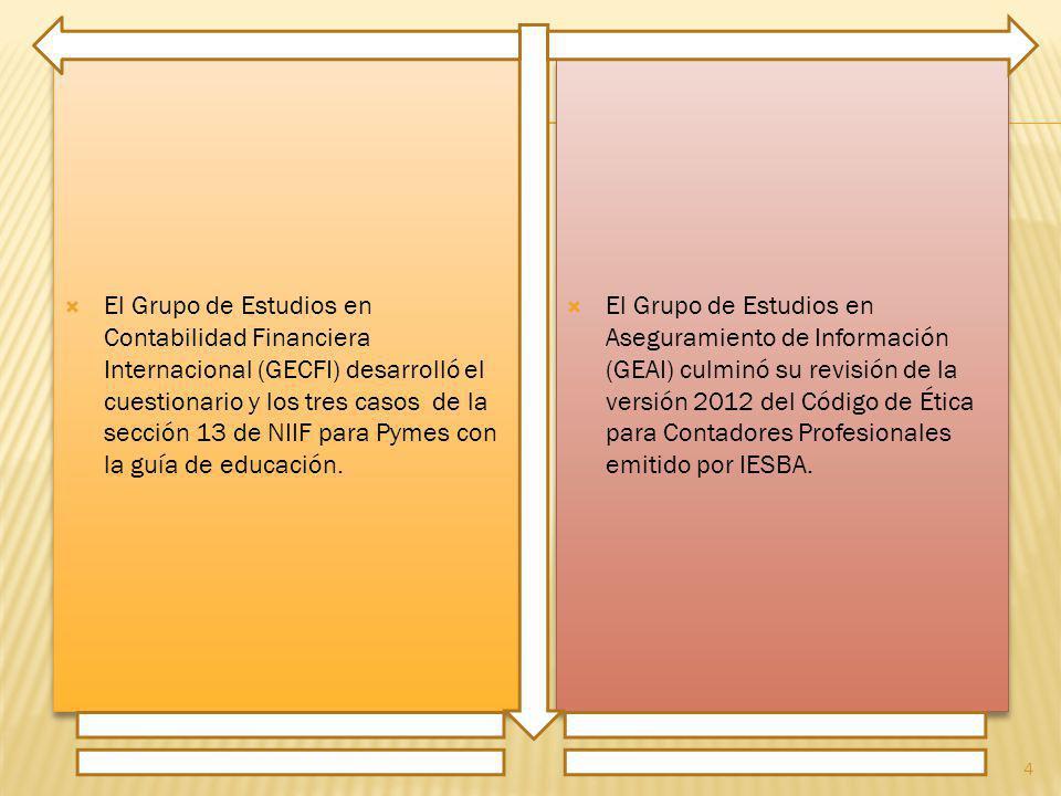 El Grupo de Estudios en Contabilidad Financiera Internacional (GECFI) desarrolló el cuestionario y los tres casos de la sección 13 de NIIF para Pymes con la guía de educación.
