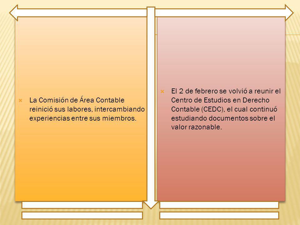La Comisión de Área Contable reinició sus labores, intercambiando experiencias entre sus miembros.