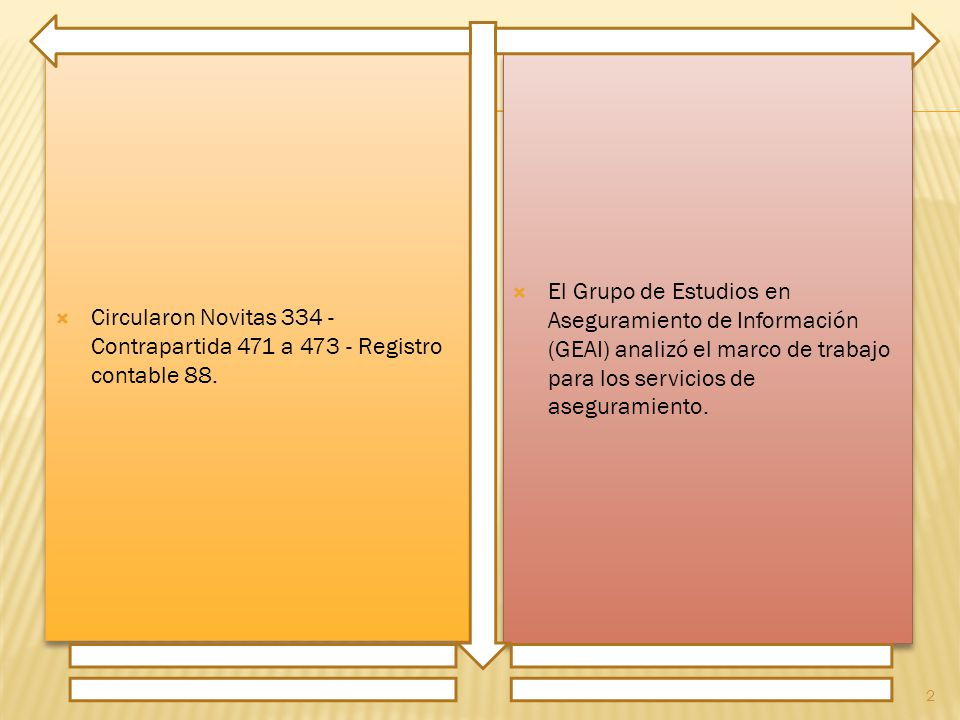 Circularon Novitas 334 - Contrapartida 471 a 473 - Registro contable 88. El Grupo de Estudios en Aseguramiento de Información (GEAI) analizó el marco