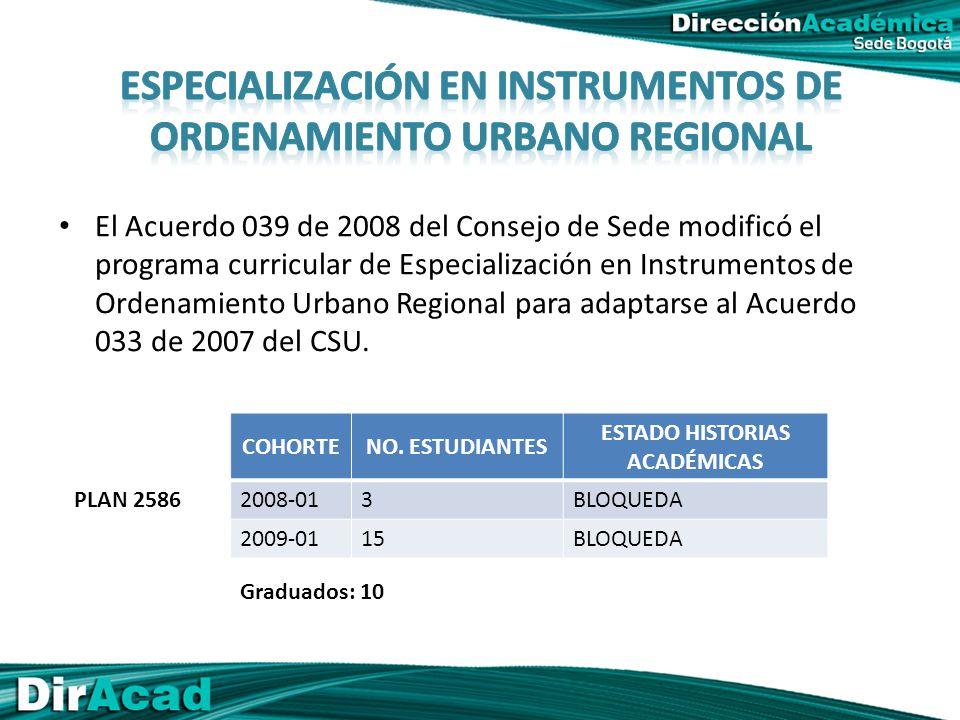 El Acuerdo 039 de 2008 del Consejo de Sede modificó el programa curricular de Especialización en Instrumentos de Ordenamiento Urbano Regional para adaptarse al Acuerdo 033 de 2007 del CSU.