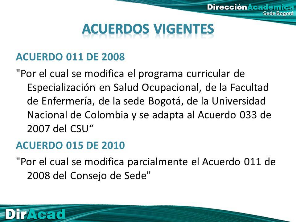 ACUERDO 011 DE 2008 Por el cual se modifica el programa curricular de Especialización en Salud Ocupacional, de la Facultad de Enfermería, de la sede Bogotá, de la Universidad Nacional de Colombia y se adapta al Acuerdo 033 de 2007 del CSU ACUERDO 015 DE 2010 Por el cual se modifica parcialmente el Acuerdo 011 de 2008 del Consejo de Sede