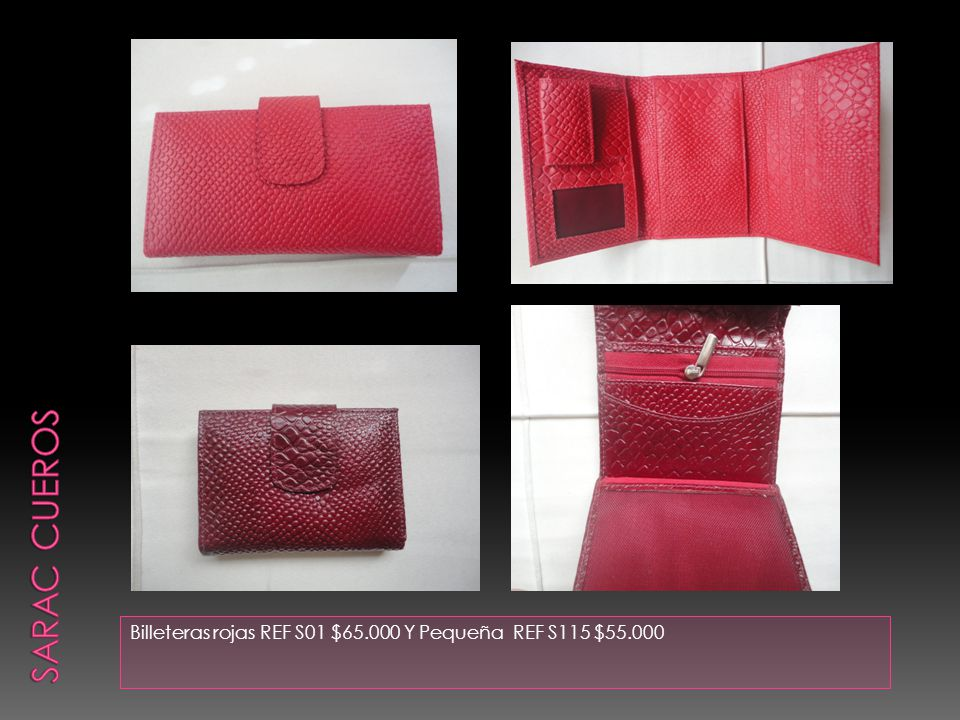Billeteras rojas REF S01 $65.000 Y Pequeña REF S115 $55.000