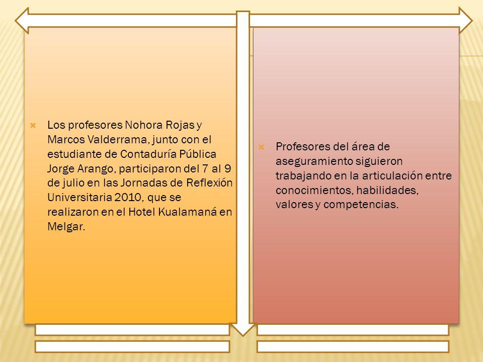 Los profesores Nohora Rojas y Marcos Valderrama, junto con el estudiante de Contaduría Pública Jorge Arango, participaron del 7 al 9 de julio en las Jornadas de Reflexión Universitaria 2010, que se realizaron en el Hotel Kualamaná en Melgar.
