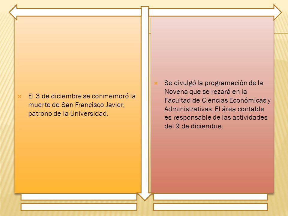 El 3 de diciembre se conmemoró la muerte de San Francisco Javier, patrono de la Universidad.