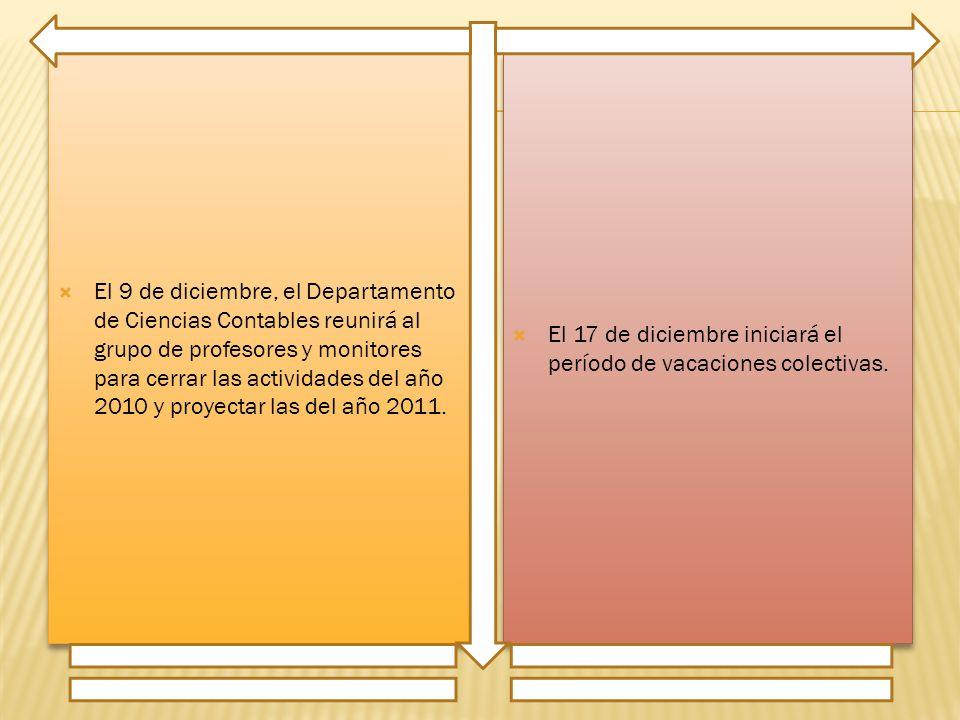 El 9 de diciembre, el Departamento de Ciencias Contables reunirá al grupo de profesores y monitores para cerrar las actividades del año 2010 y proyectar las del año 2011.