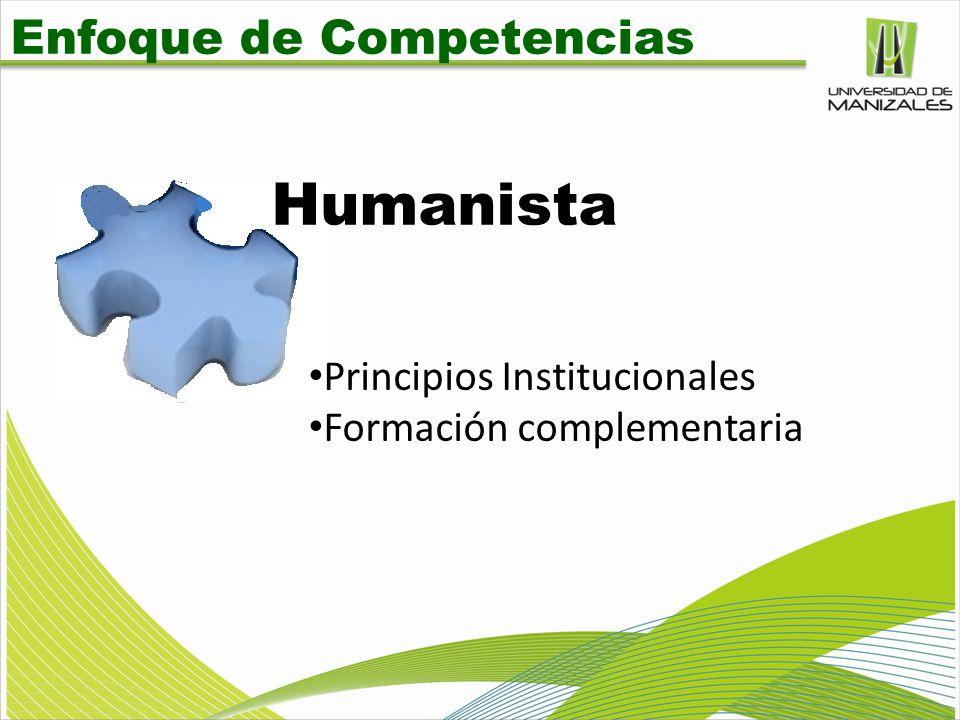 Enfoque de Competencias Humanista Principios Institucionales Formación complementaria