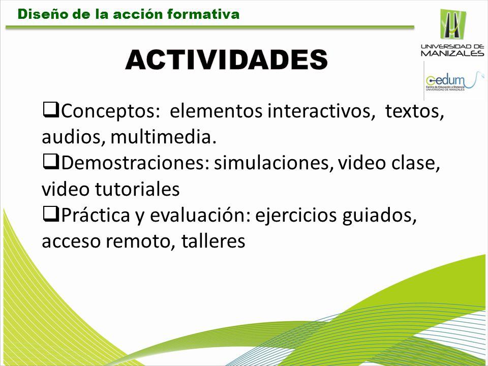 Conceptos: elementos interactivos, textos, audios, multimedia. Demostraciones: simulaciones, video clase, video tutoriales Práctica y evaluación: ejer