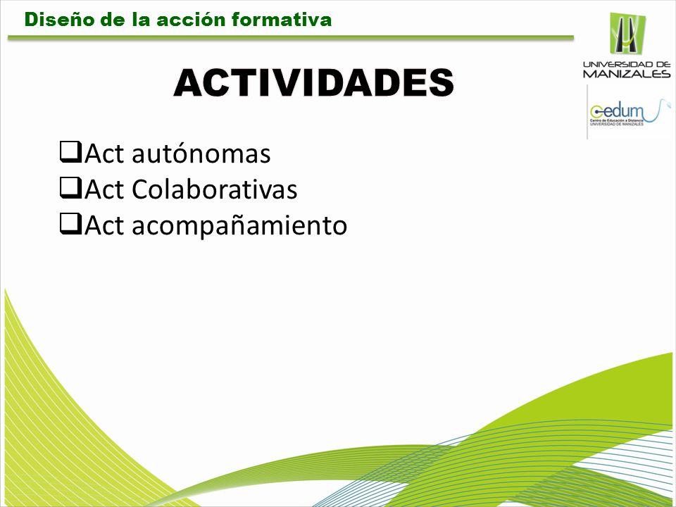 Act autónomas Act Colaborativas Act acompañamiento Diseño de la acción formativa