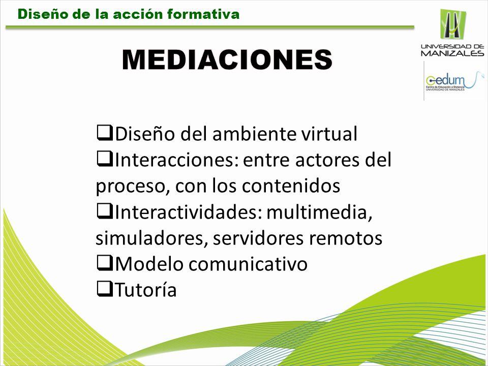 Diseño del ambiente virtual Interacciones: entre actores del proceso, con los contenidos Interactividades: multimedia, simuladores, servidores remotos