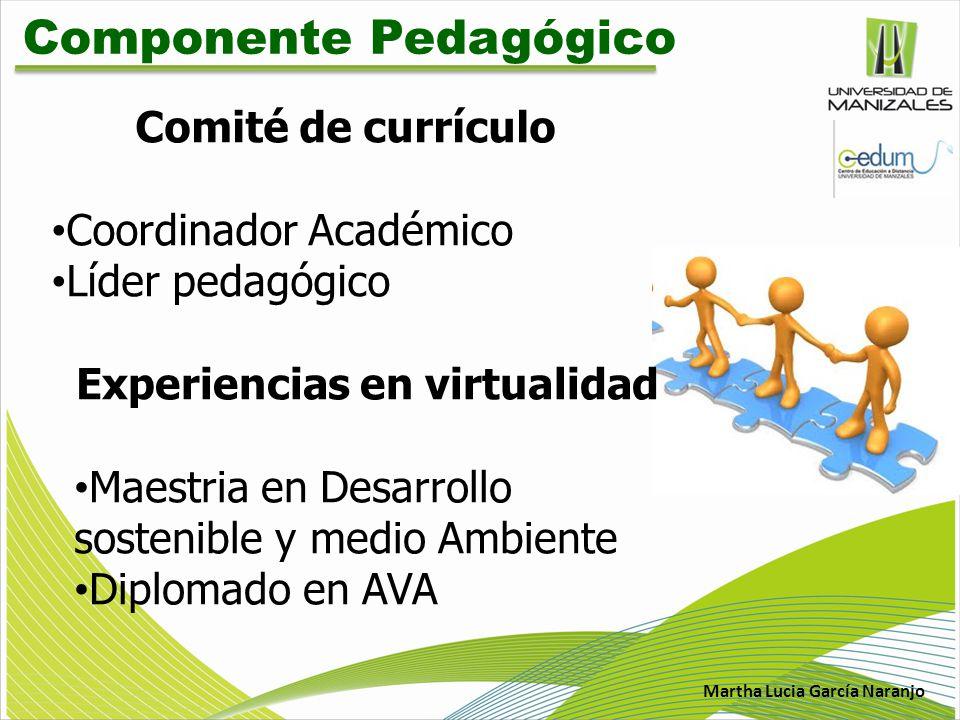 Martha Lucia García Naranjo Componente Pedagógico Comité de currículo Coordinador Académico Líder pedagógico Experiencias en virtualidad Maestria en D