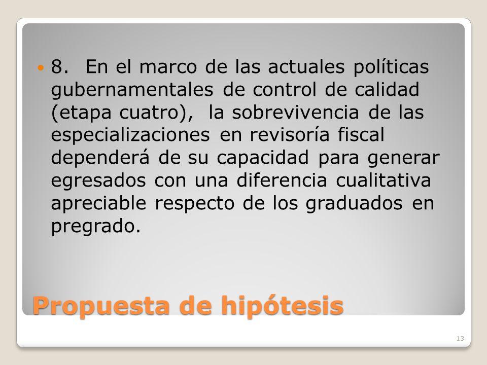 Propuesta de hipótesis 8.En el marco de las actuales políticas gubernamentales de control de calidad (etapa cuatro), la sobrevivencia de las especiali