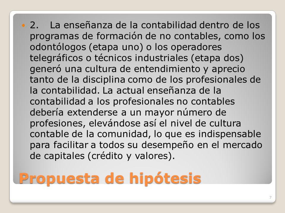 Propuesta de hipótesis 2.La enseñanza de la contabilidad dentro de los programas de formación de no contables, como los odontólogos (etapa uno) o los