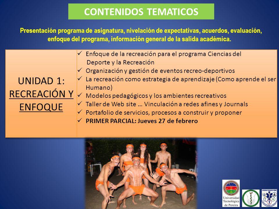 CONTENIDOS TEMATICOS Presentación programa de asignatura, nivelación de expectativas, acuerdos, evaluación, enfoque del programa, información general