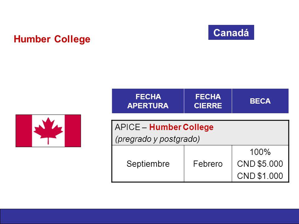 Humber College Canadá FECHA APERTURA FECHA CIERRE BECA APICE – Humber College (pregrado y postgrado) SeptiembreFebrero 100% CND $5.000 CND $1.000
