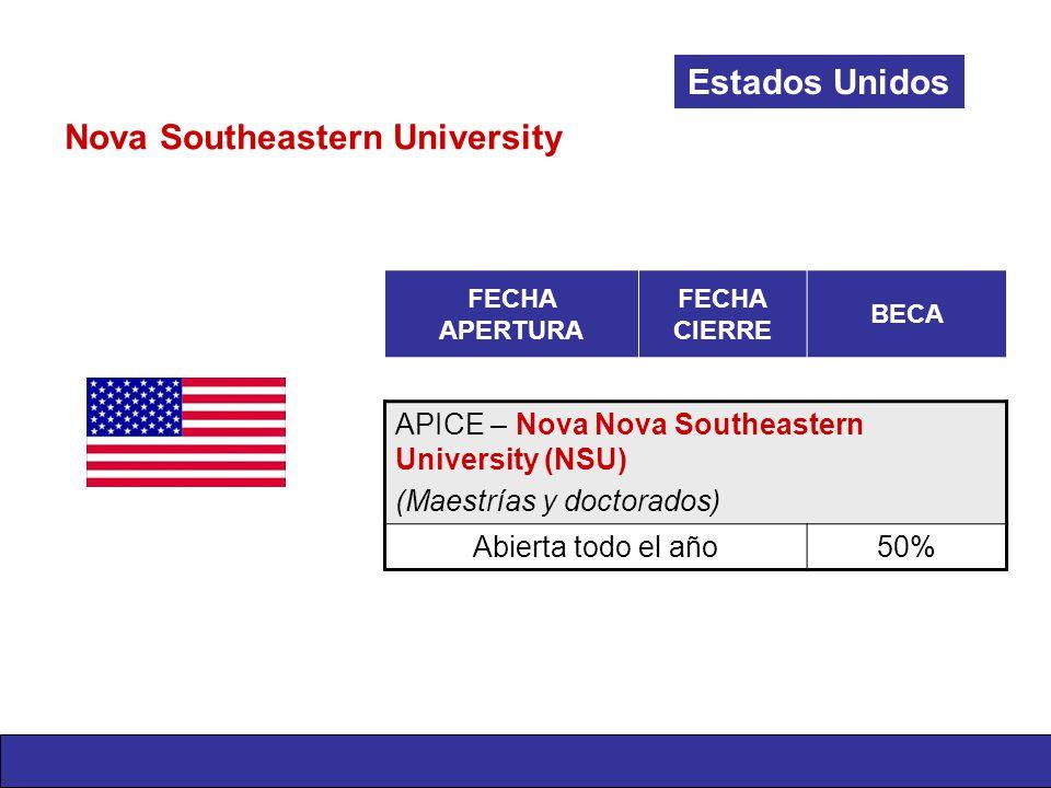 Nova Southeastern University Estados Unidos FECHA APERTURA FECHA CIERRE BECA APICE – Nova Nova Southeastern University (NSU) (Maestrías y doctorados) Abierta todo el año50%