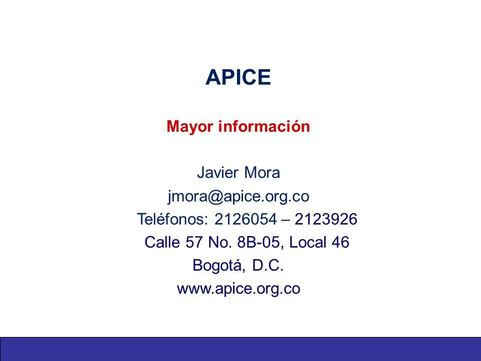 APICE Mayor información Javier Mora jmora@apice.org.co Teléfonos: 2126054 – 2123926 Calle 57 No.