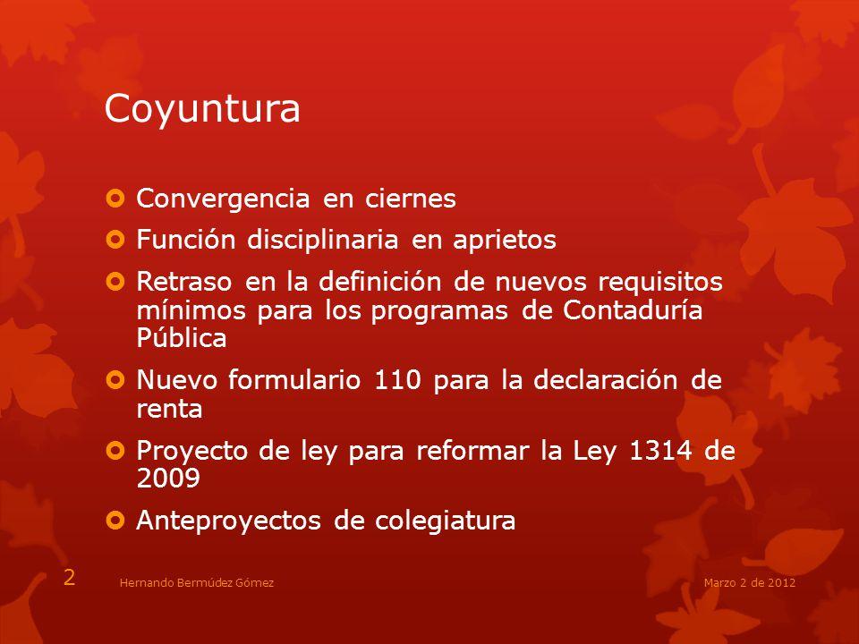 Coyuntura Convergencia en ciernes Función disciplinaria en aprietos Retraso en la definición de nuevos requisitos mínimos para los programas de Contad