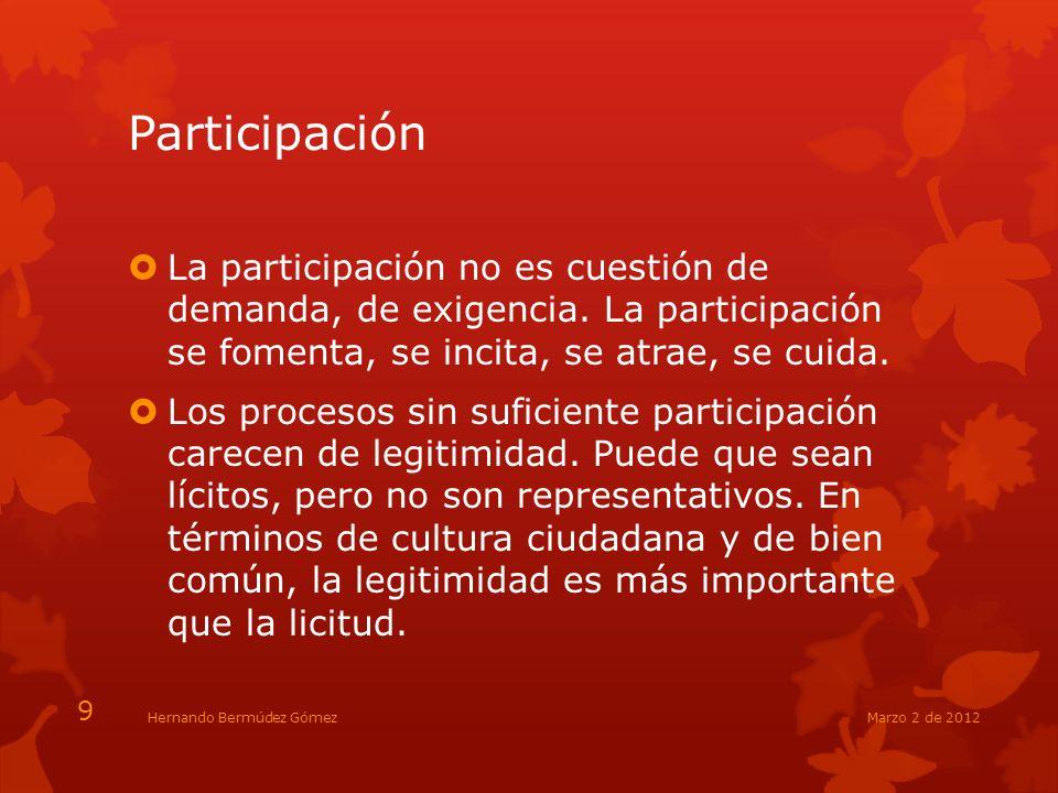 Participación La participación no es cuestión de demanda, de exigencia. La participación se fomenta, se incita, se atrae, se cuida. Los procesos sin s
