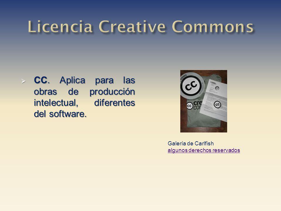 CC. Aplica para las obras de producción intelectual, diferentes del software. CC. Aplica para las obras de producción intelectual, diferentes del soft