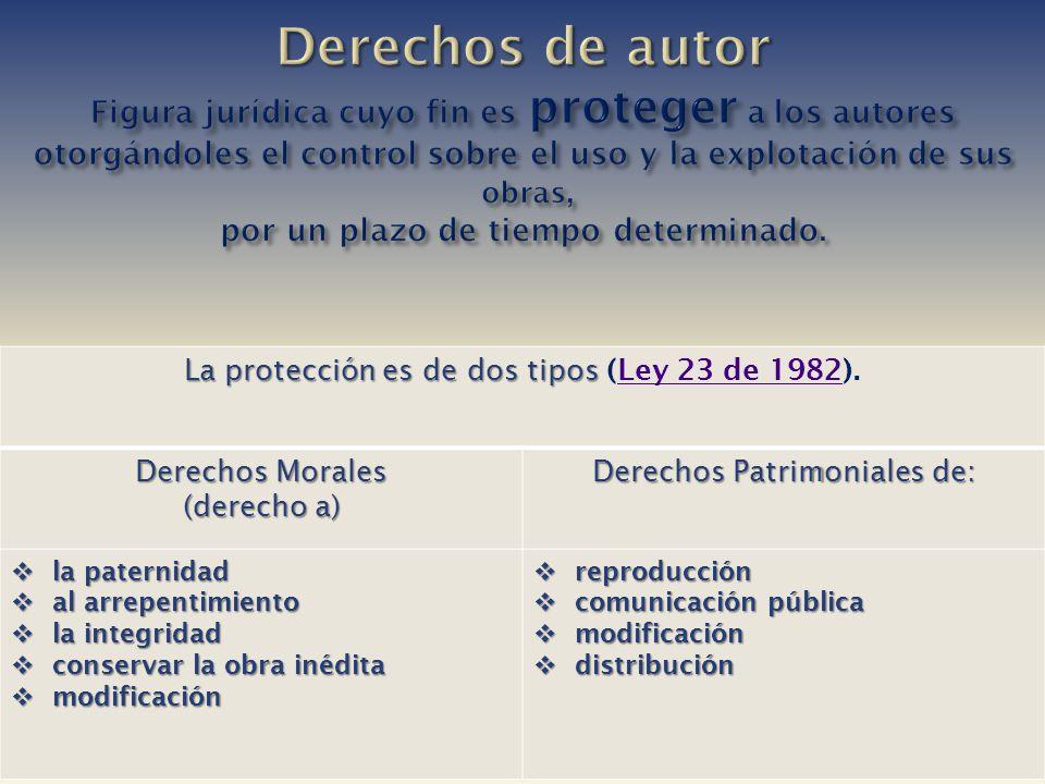 La protección es de dos tipos La protección es de dos tipos (Ley 23 de 1982).Ley 23 de 1982 Derechos Morales (derecho a) Derechos Patrimoniales de: la