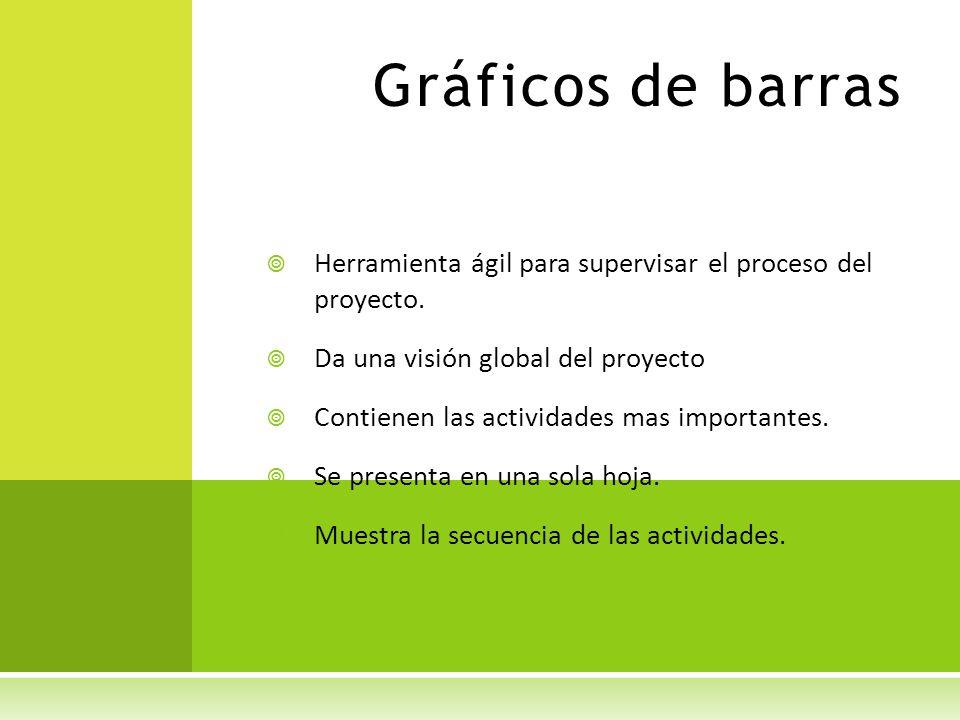 Gráficos de barras Herramienta ágil para supervisar el proceso del proyecto. Da una visión global del proyecto Contienen las actividades mas important
