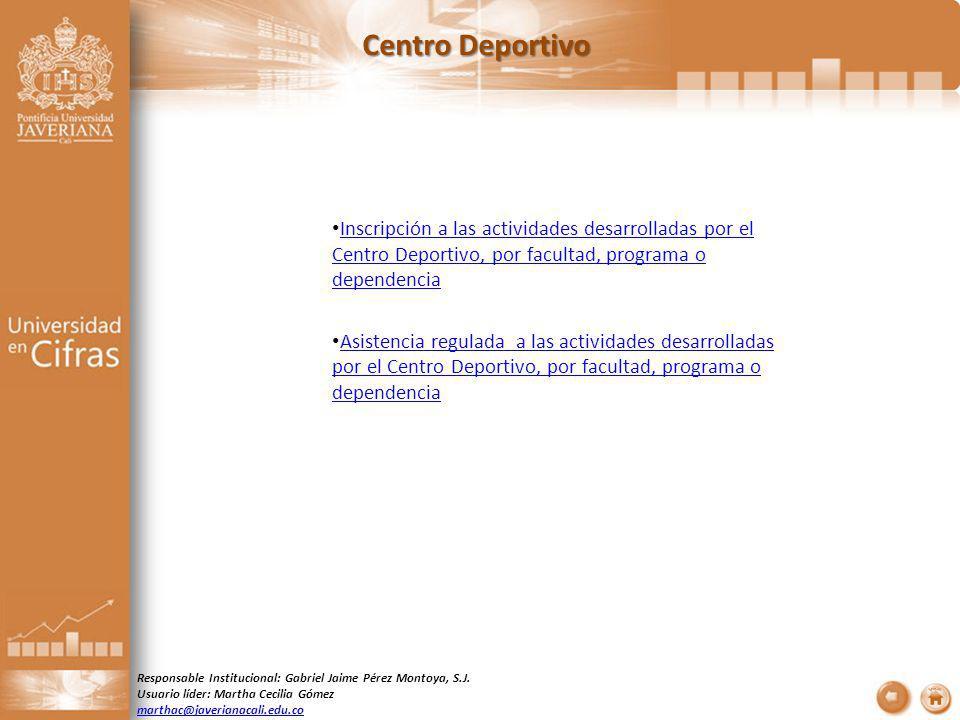 Centro Deportivo Inscripción a las actividades desarrolladas por el Centro Deportivo, por facultad, programa o dependencia Inscripción a las actividad