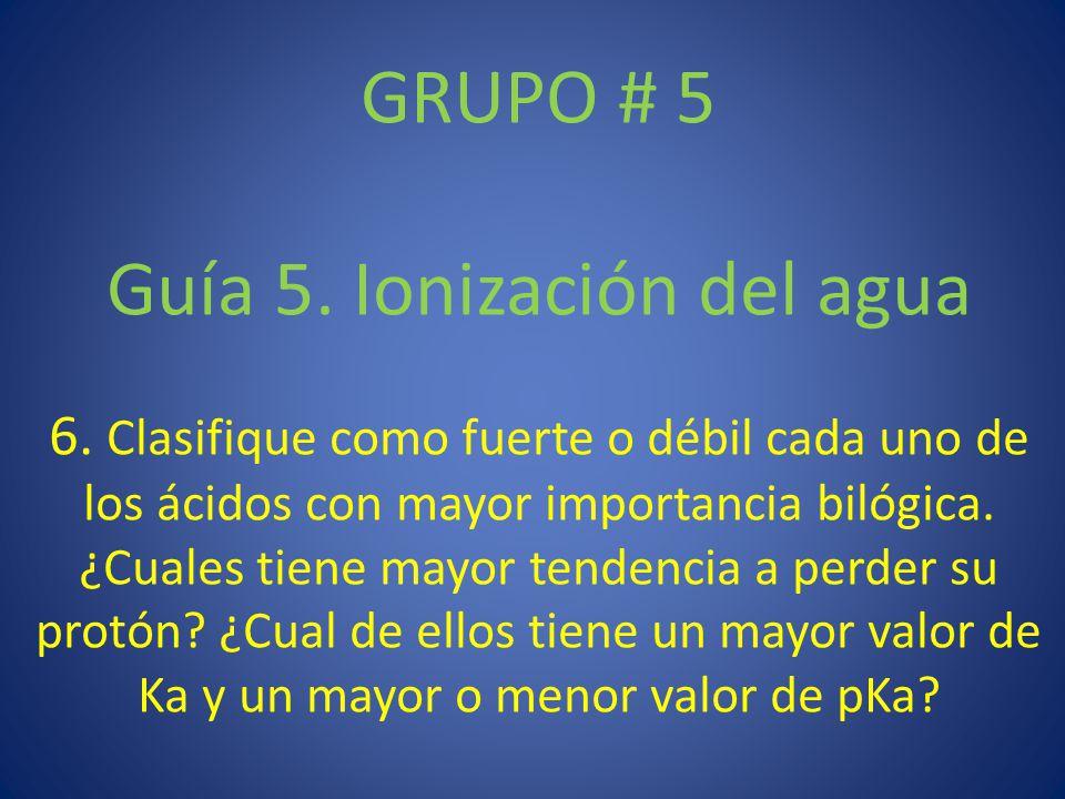 GRUPO # 5 Guía 5.Ionización del agua 6.