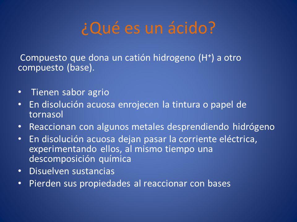 ¿Qué es un ácido.Compuesto que dona un catión hidrogeno (H + ) a otro compuesto (base).