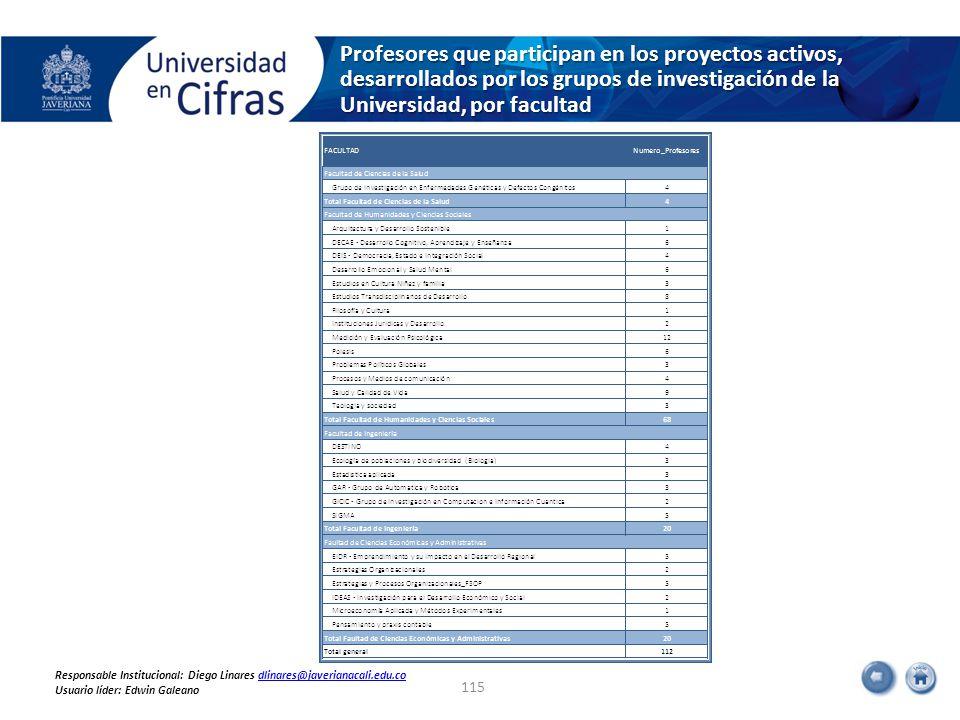 Profesores que participan en los proyectos activos, desarrollados por los grupos de investigación de la Universidad, por facultad 115 Responsable Institucional: Diego Linares dlinares@javerianacali.edu.codlinares@javerianacali.edu.co Usuario líder: Edwin Galeano
