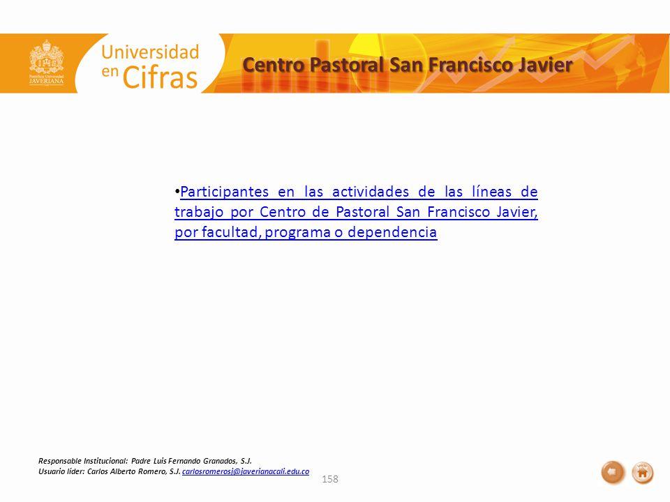 Centro Pastoral San Francisco Javier 158 Responsable Institucional: Padre Luis Fernando Granados, S.J.