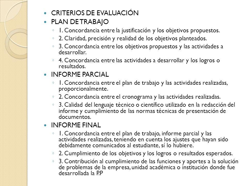 CRITERIOS DE EVALUACIÓN PLAN DE TRABAJO 1.