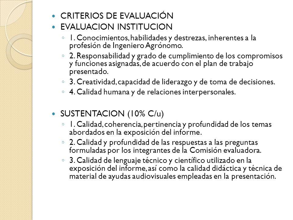 CRITERIOS DE EVALUACIÓN EVALUACION INSTITUCION 1.
