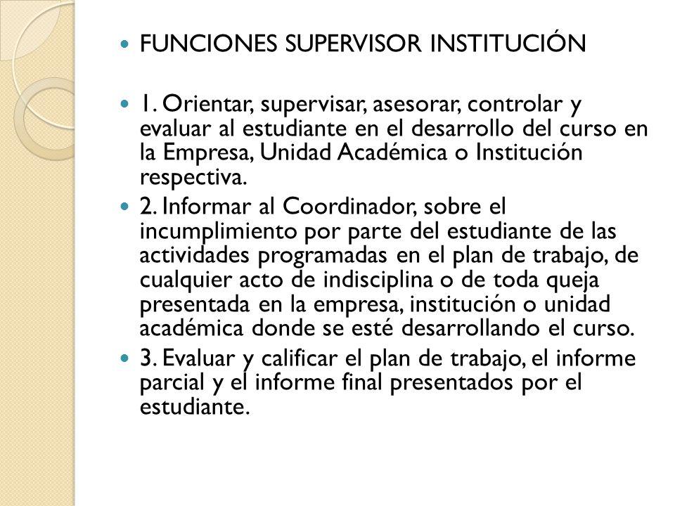 FUNCIONES SUPERVISOR INSTITUCIÓN 1.