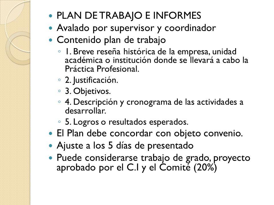 PLAN DE TRABAJO E INFORMES Avalado por supervisor y coordinador Contenido plan de trabajo 1.