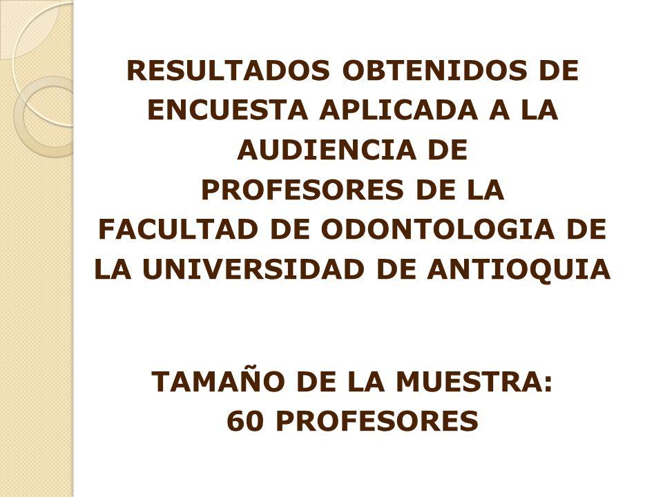RESULTADOS OBTENIDOS DE ENCUESTA APLICADA A LA AUDIENCIA DE PROFESORES DE LA FACULTAD DE ODONTOLOGIA DE LA UNIVERSIDAD DE ANTIOQUIA TAMAÑO DE LA MUESTRA: 60 PROFESORES