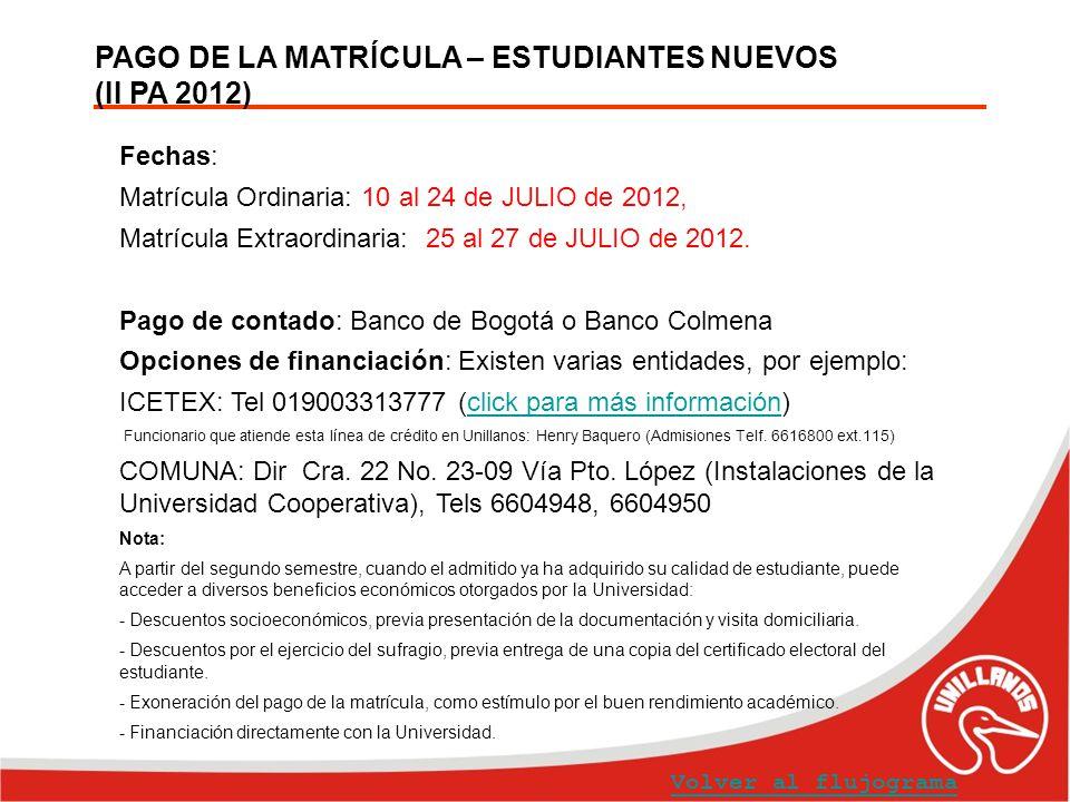 PAGO DE LA MATRÍCULA – ESTUDIANTES NUEVOS (II PA 2012) Volver al flujograma Fechas: Matrícula Ordinaria: 10 al 24 de JULIO de 2012, Matrícula Extraord