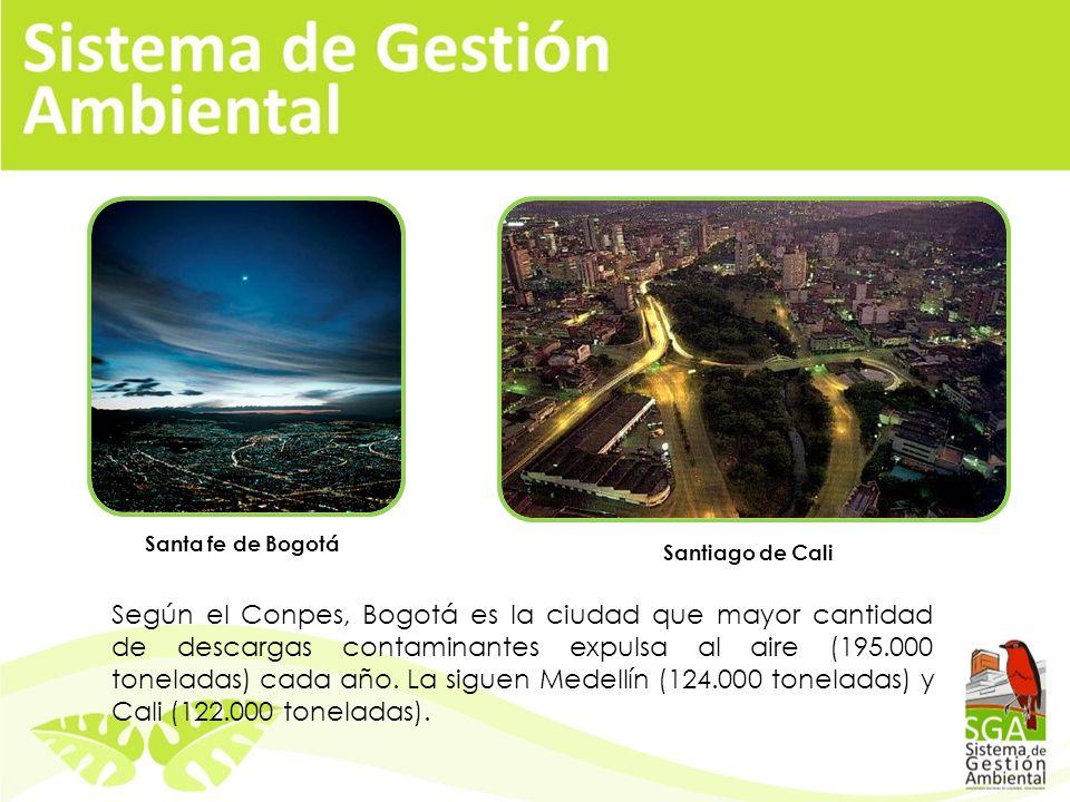Según el Conpes, Bogotá es la ciudad que mayor cantidad de descargas contaminantes expulsa al aire (195.000 toneladas) cada año.
